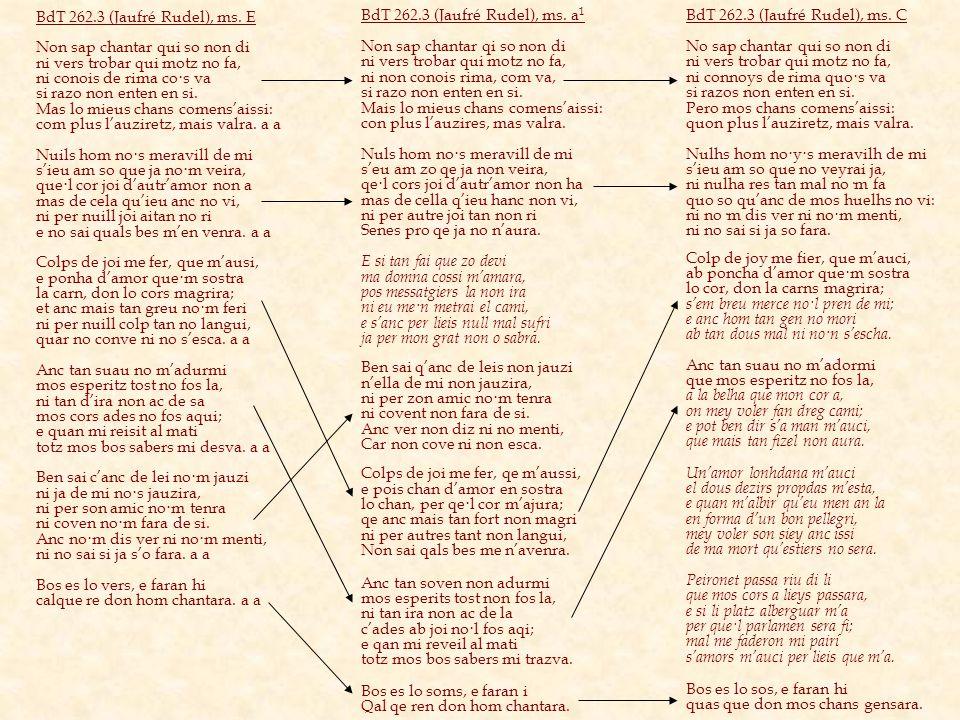 BdT 262.3 (Jaufré Rudel), ms. E Non sap chantar qui so non di. ni vers trobar qui motz no fa, ni conois de rima co·s va.