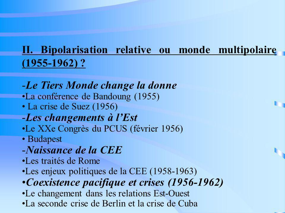 II. Bipolarisation relative ou monde multipolaire (1955-1962)