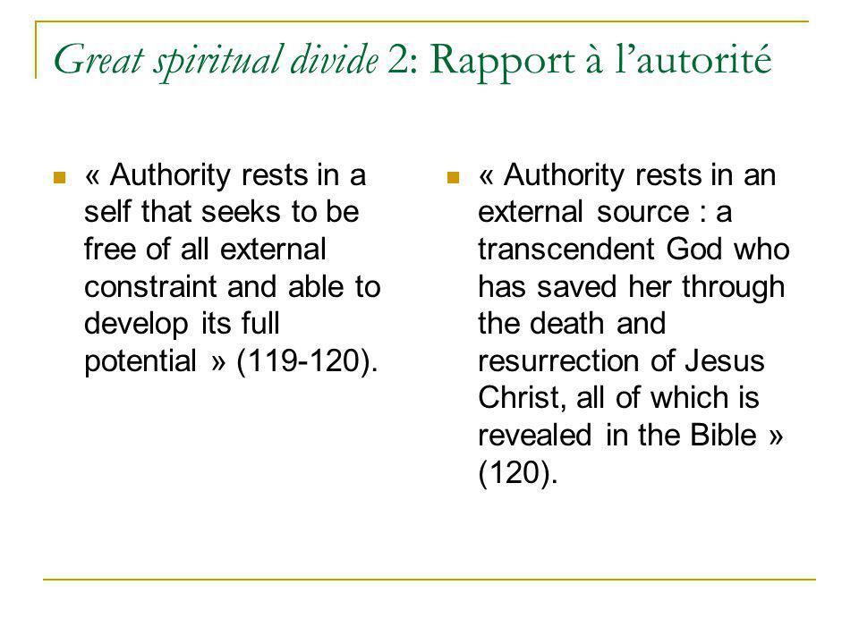 Great spiritual divide 2: Rapport à l'autorité