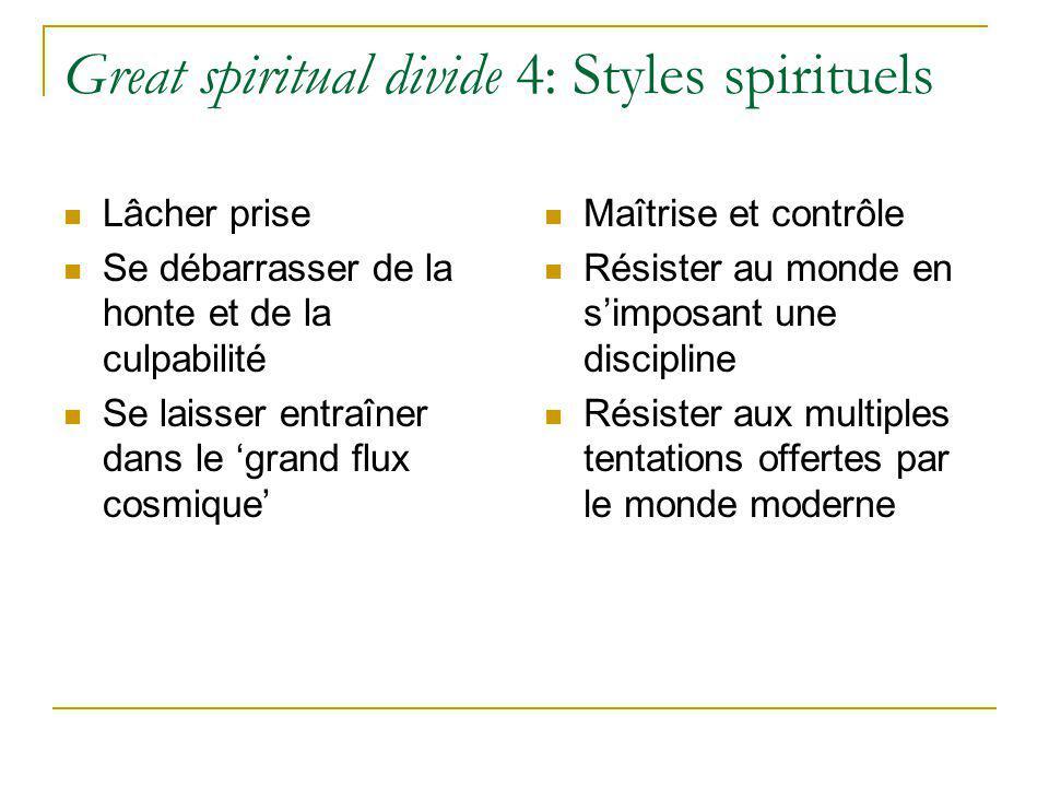 Great spiritual divide 4: Styles spirituels