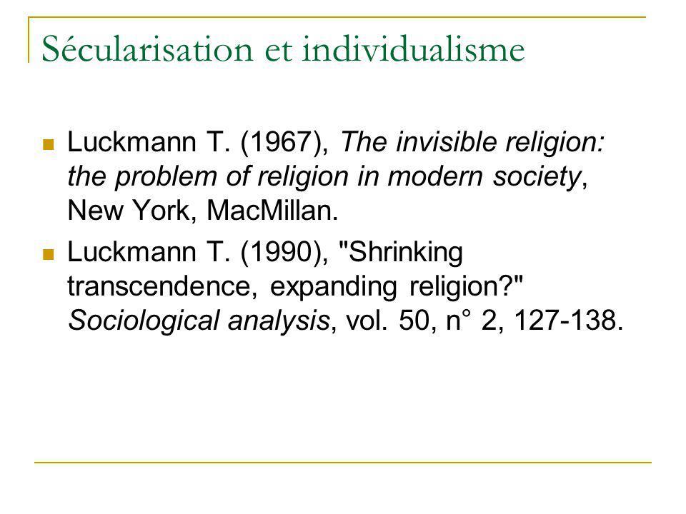 Sécularisation et individualisme