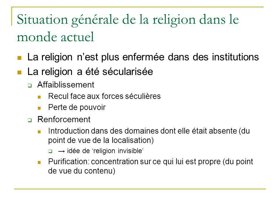 Situation générale de la religion dans le monde actuel