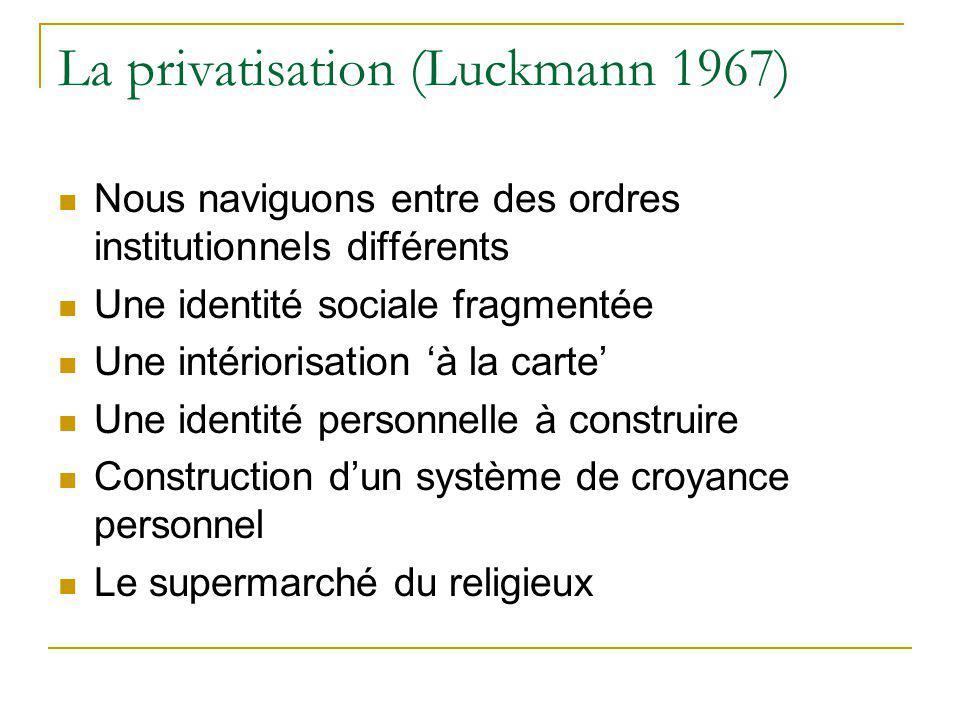 La privatisation (Luckmann 1967)