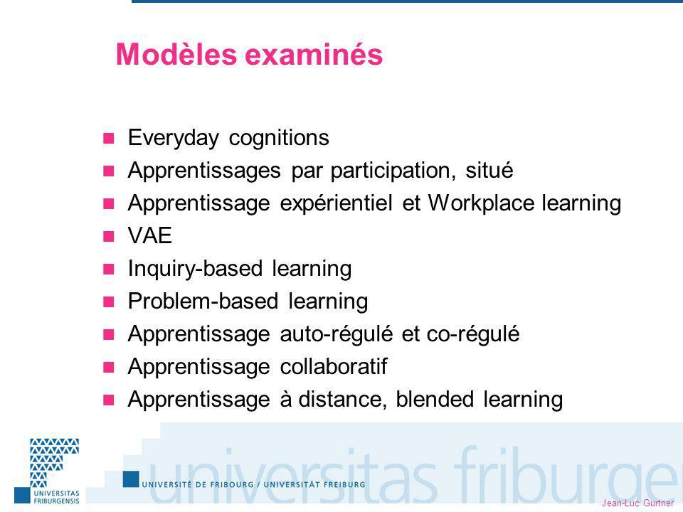 Modèles examinés Everyday cognitions
