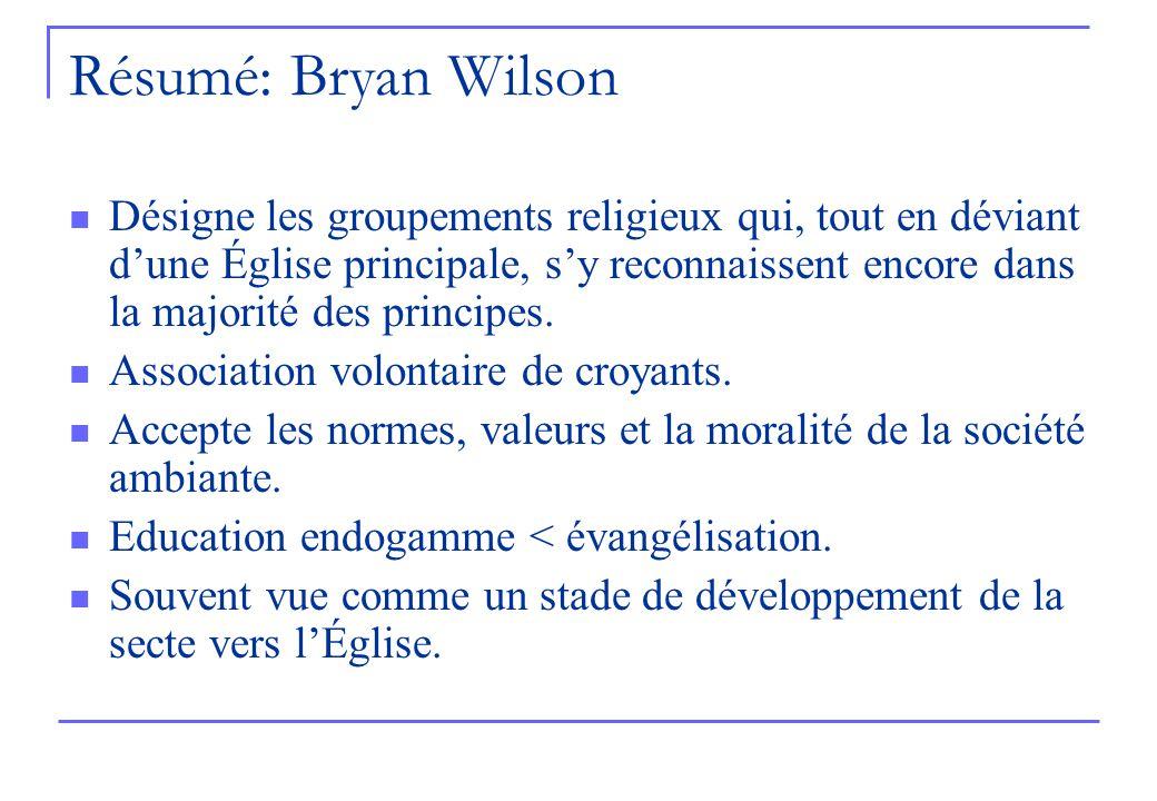 Résumé: Bryan Wilson