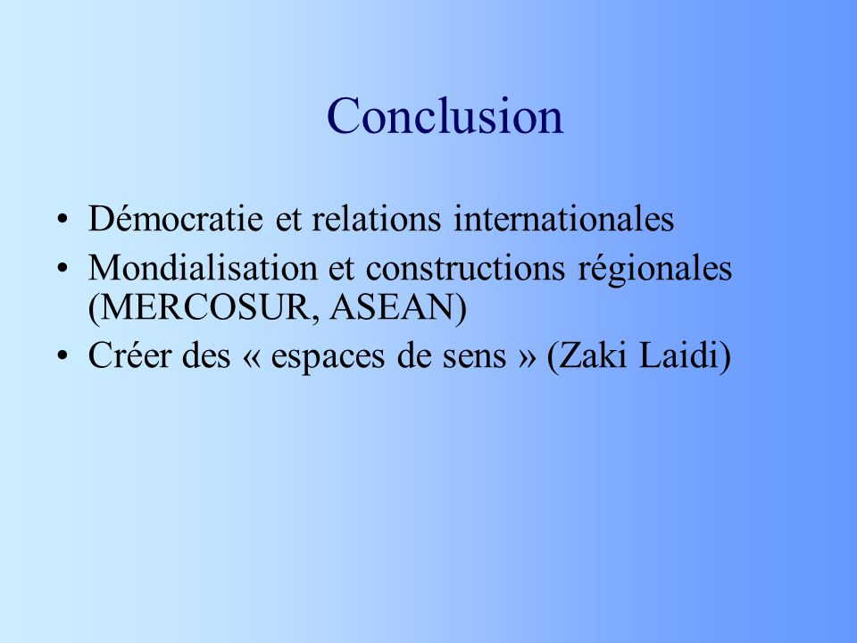 Conclusion Démocratie et relations internationales