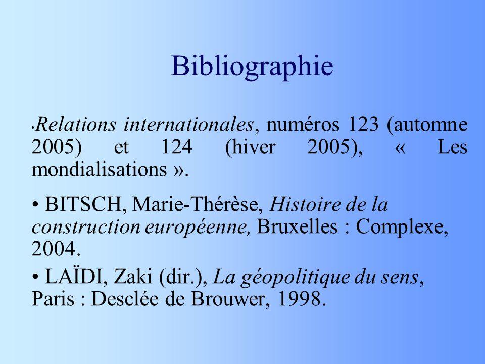Bibliographie Relations internationales, numéros 123 (automne 2005) et 124 (hiver 2005), « Les mondialisations ».