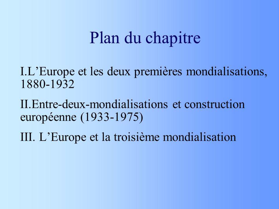 Plan du chapitre L'Europe et les deux premières mondialisations, 1880-1932. Entre-deux-mondialisations et construction européenne (1933-1975)