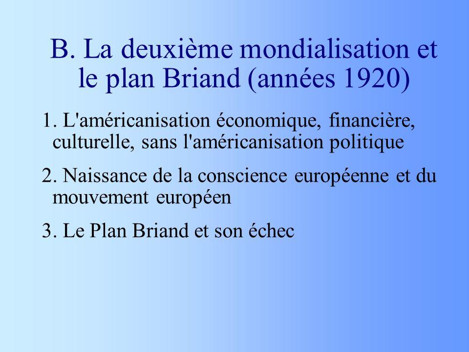 B. La deuxième mondialisation et le plan Briand (années 1920)