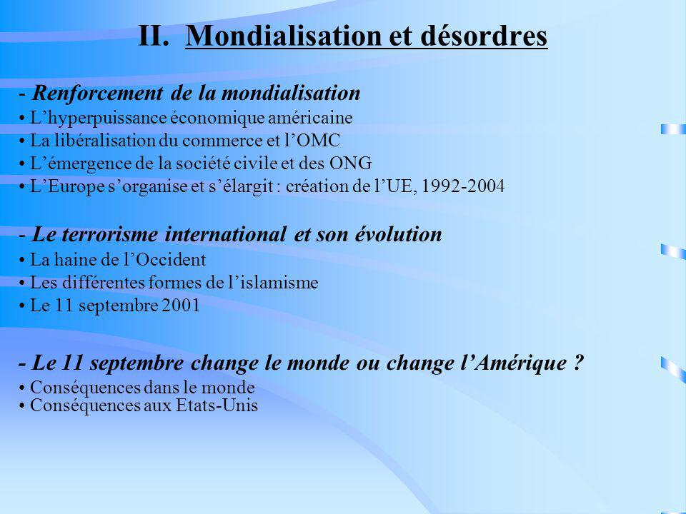 II. Mondialisation et désordres