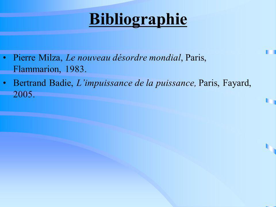 Bibliographie Pierre Milza, Le nouveau désordre mondial, Paris, Flammarion, 1983.