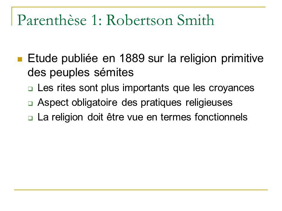 Parenthèse 1: Robertson Smith