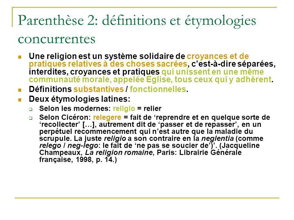 Parenthèse 2: définitions et étymologies concurrentes