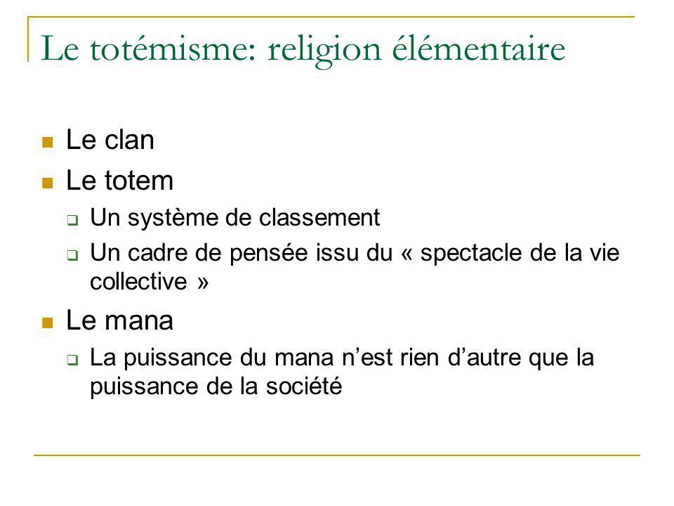 Le totémisme: religion élémentaire
