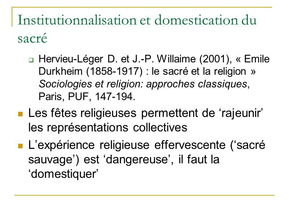 Institutionnalisation et domestication du sacré