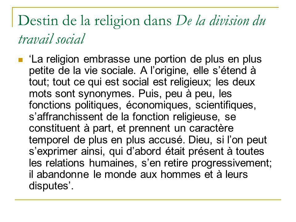Destin de la religion dans De la division du travail social