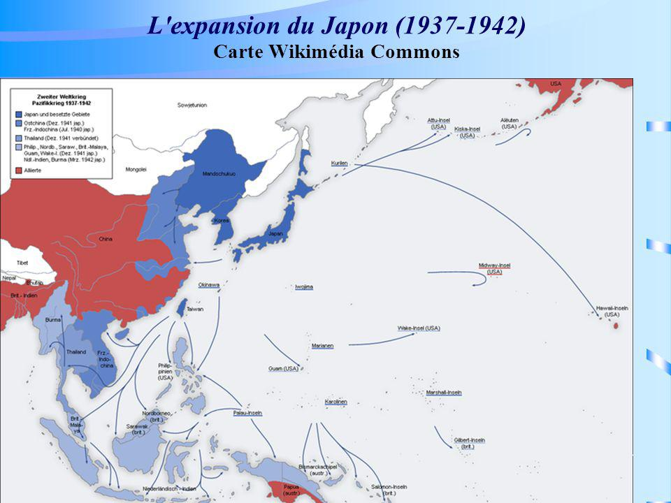 L expansion du Japon (1937-1942) Carte Wikimédia Commons
