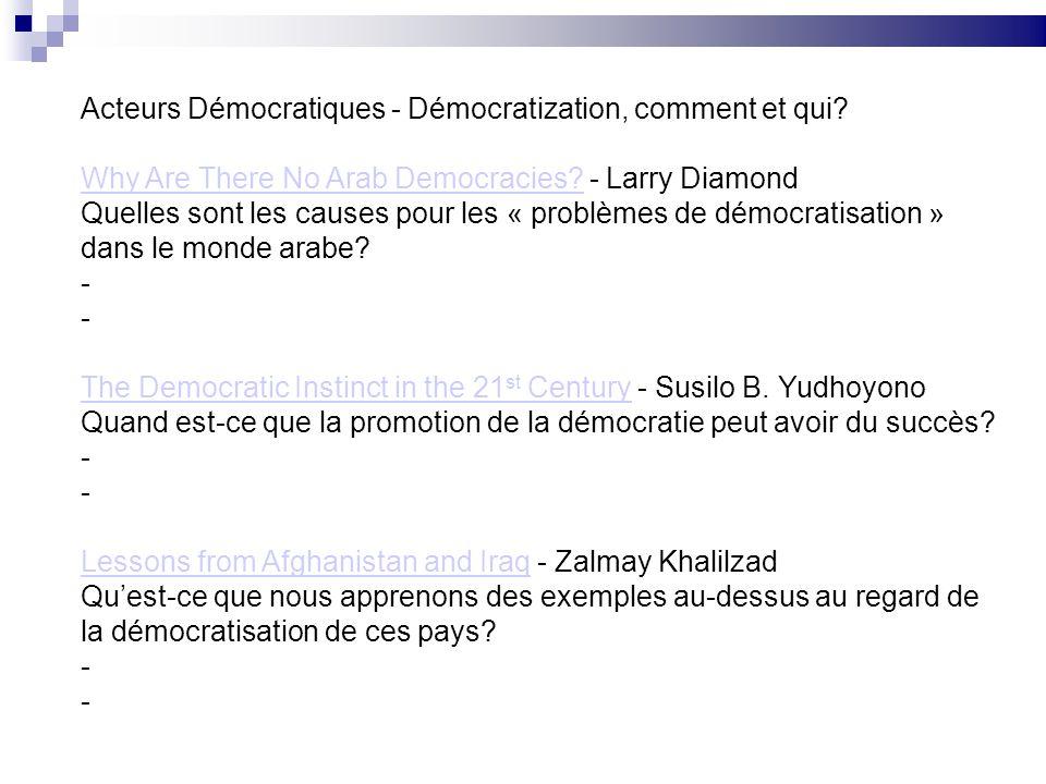 Acteurs Démocratiques - Démocratization, comment et qui