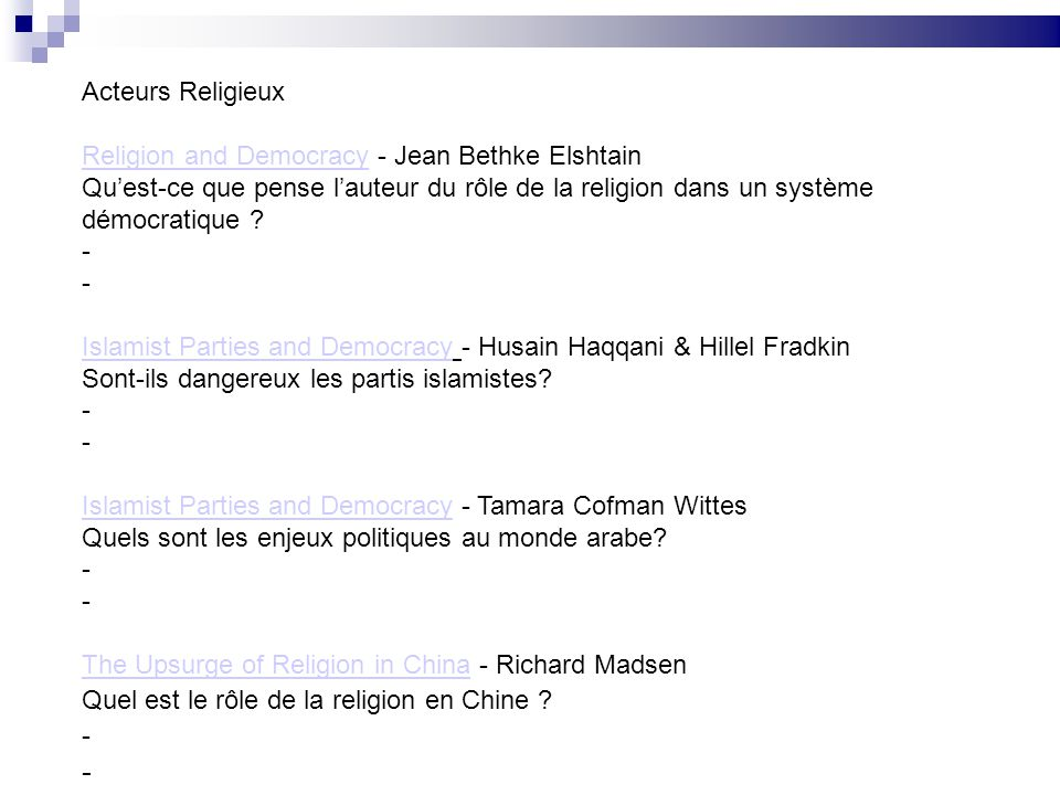 Acteurs Religieux Religion and Democracy - Jean Bethke Elshtain.