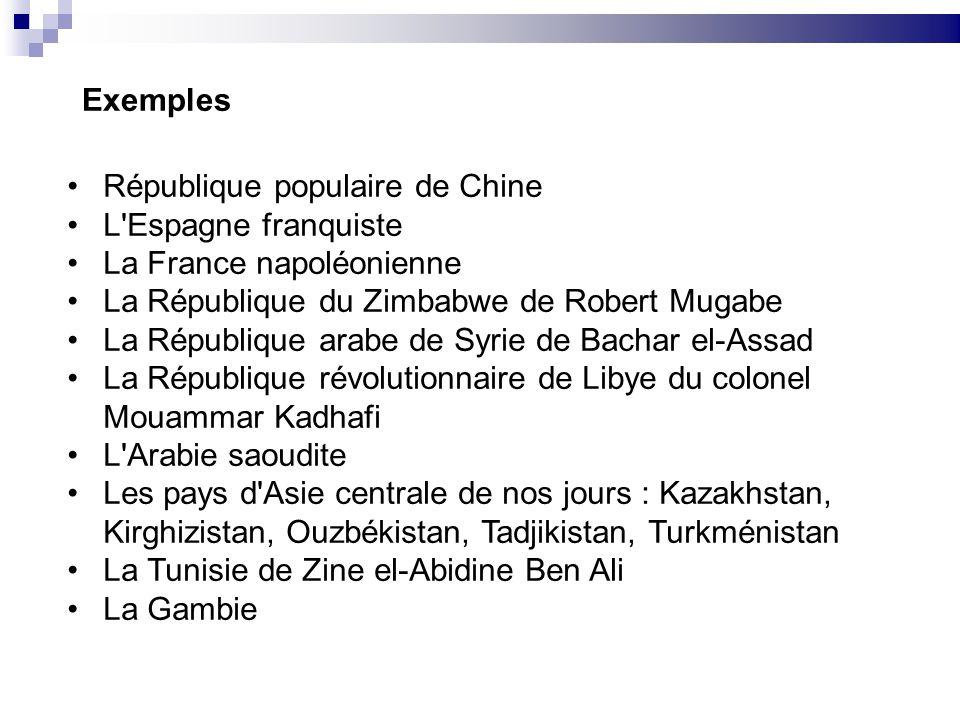 Exemples République populaire de Chine. L Espagne franquiste. La France napoléonienne. La République du Zimbabwe de Robert Mugabe.