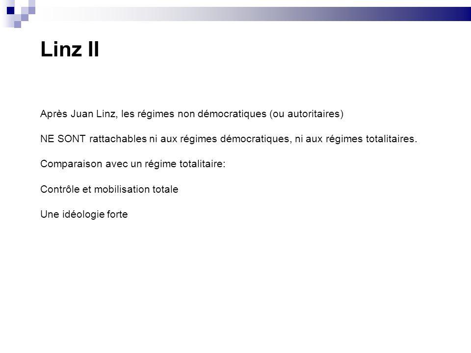 Linz II Après Juan Linz, les régimes non démocratiques (ou autoritaires)