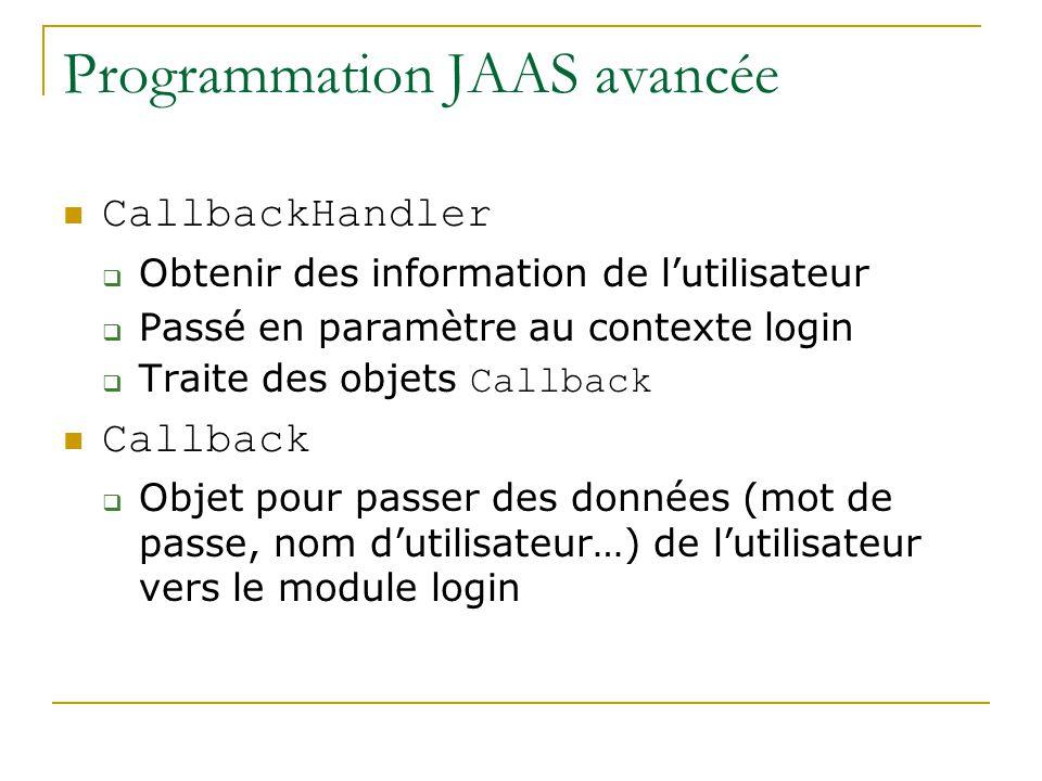 Programmation JAAS avancée