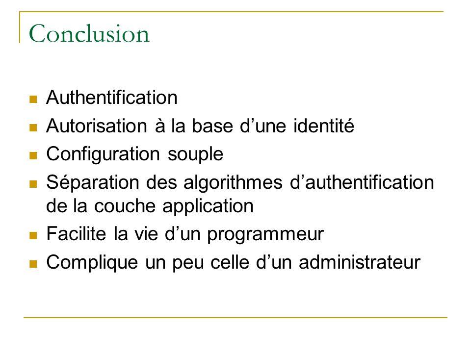 Conclusion Authentification Autorisation à la base d'une identité