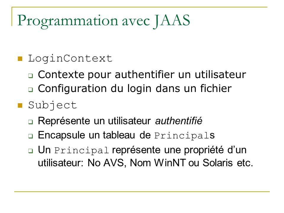 Programmation avec JAAS