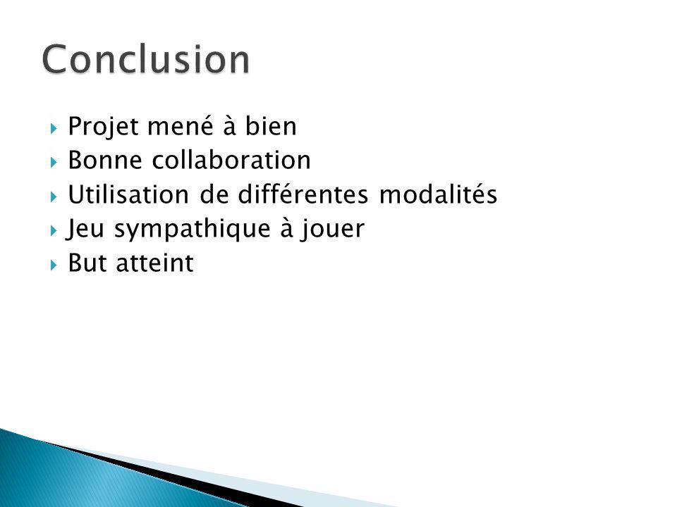 Conclusion Projet mené à bien Bonne collaboration