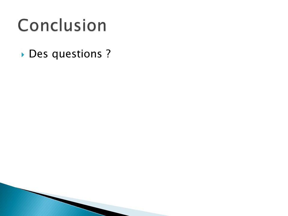 Conclusion Des questions