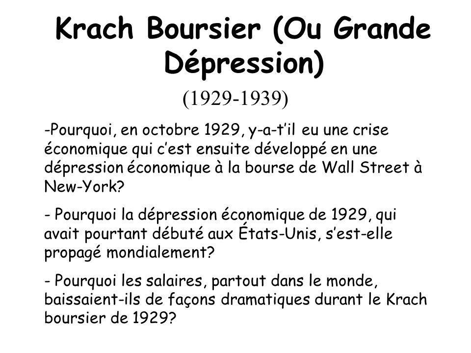 Krach Boursier (Ou Grande Dépression)