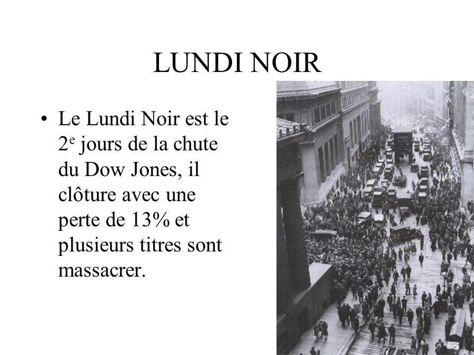 LUNDI NOIR Le Lundi Noir est le 2e jours de la chute du Dow Jones, il clôture avec une perte de 13% et plusieurs titres sont massacrer.
