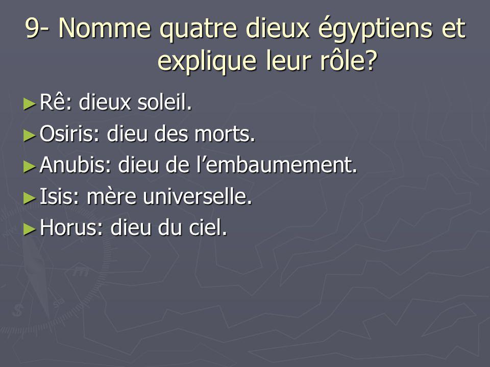 9- Nomme quatre dieux égyptiens et explique leur rôle