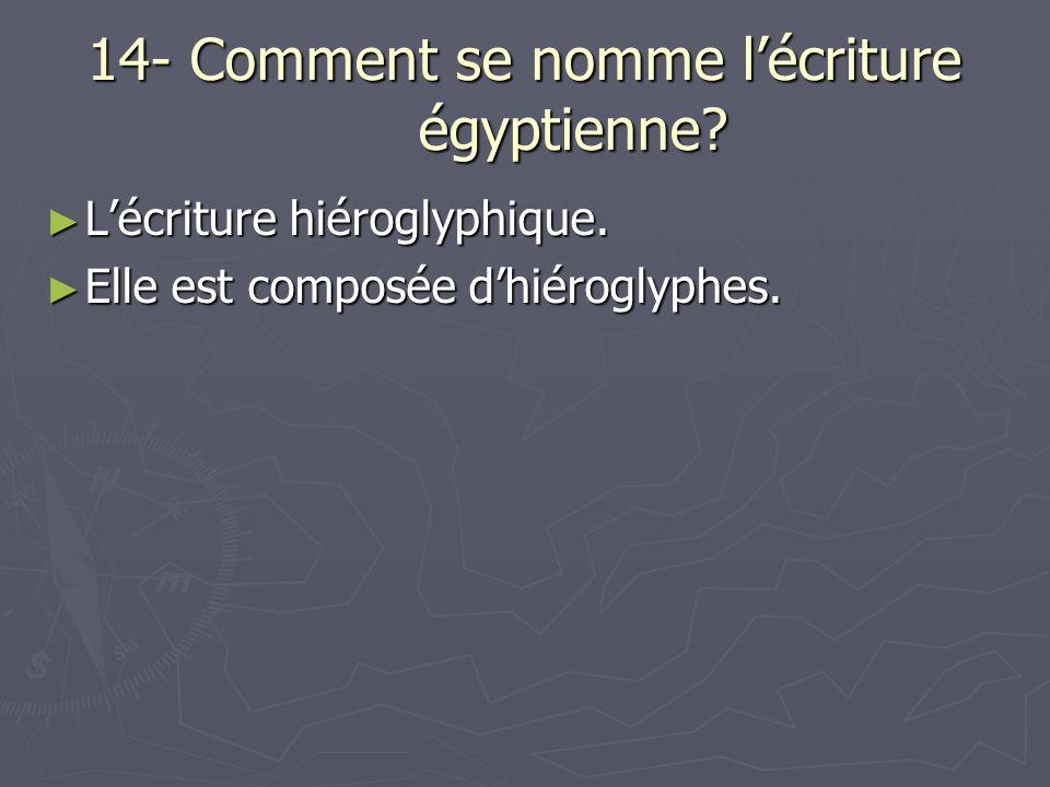 14- Comment se nomme l'écriture égyptienne