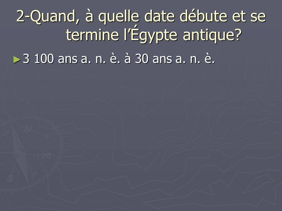 2-Quand, à quelle date débute et se termine l'Égypte antique