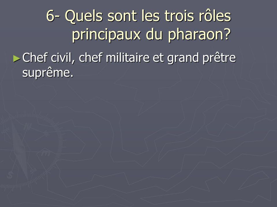 6- Quels sont les trois rôles principaux du pharaon