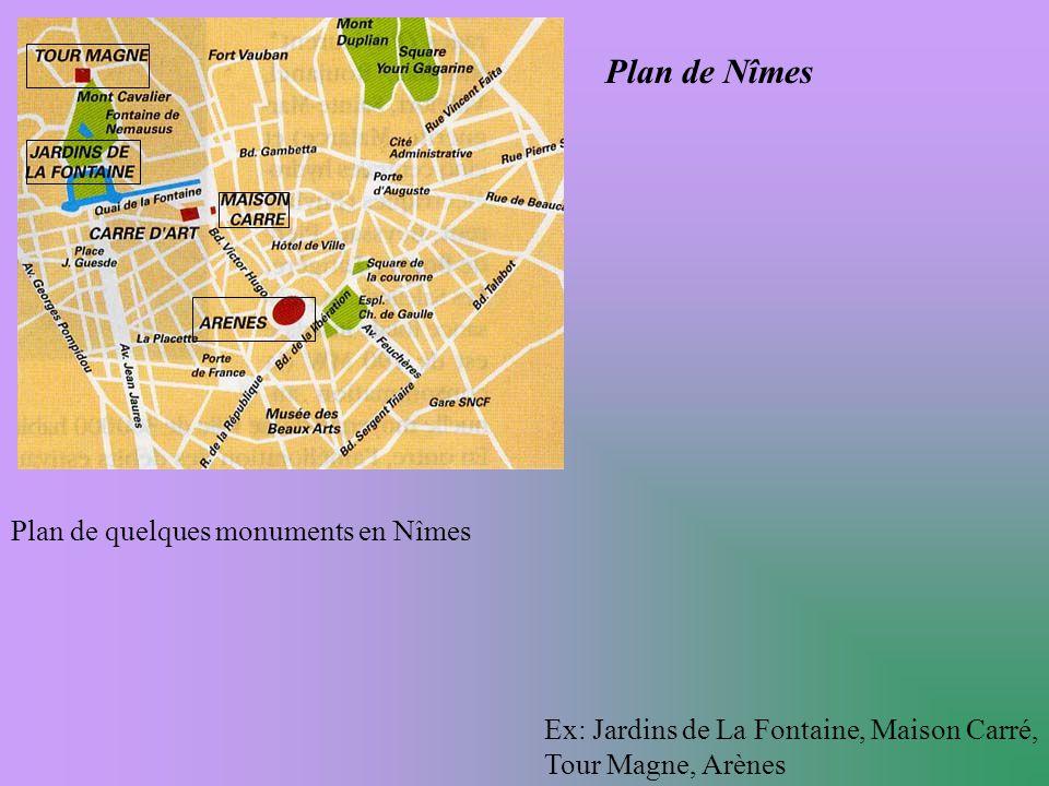 Plan de Nîmes Plan de quelques monuments en Nîmes