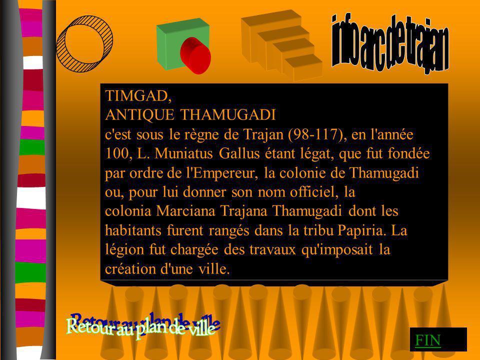 info arc de trajan Retour au plan de ville TIMGAD, ANTIQUE THAMUGADI