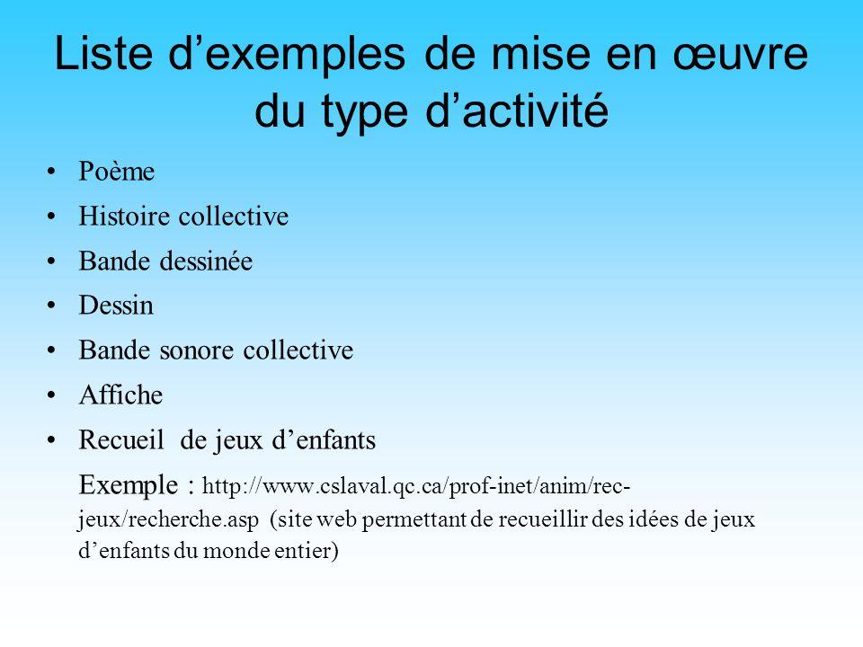 Liste d'exemples de mise en œuvre du type d'activité