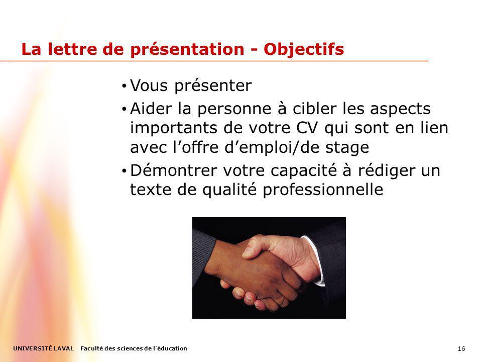 La lettre de présentation - Objectifs
