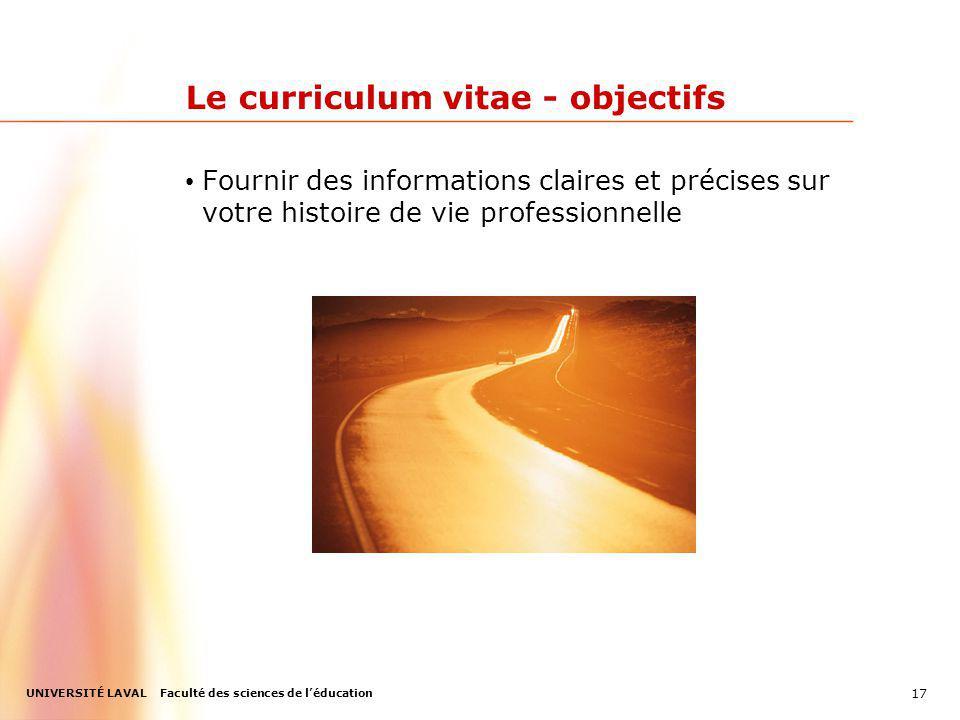 Le curriculum vitae - objectifs