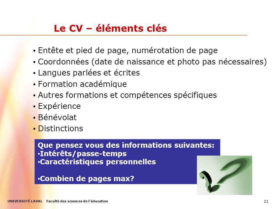 Le CV – éléments clés Entête et pied de page, numérotation de page