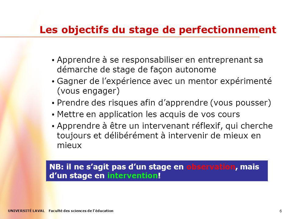 Les objectifs du stage de perfectionnement