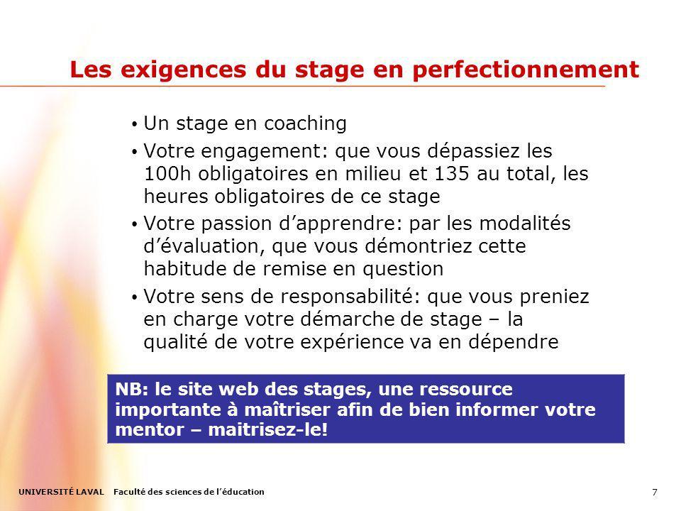 Les exigences du stage en perfectionnement