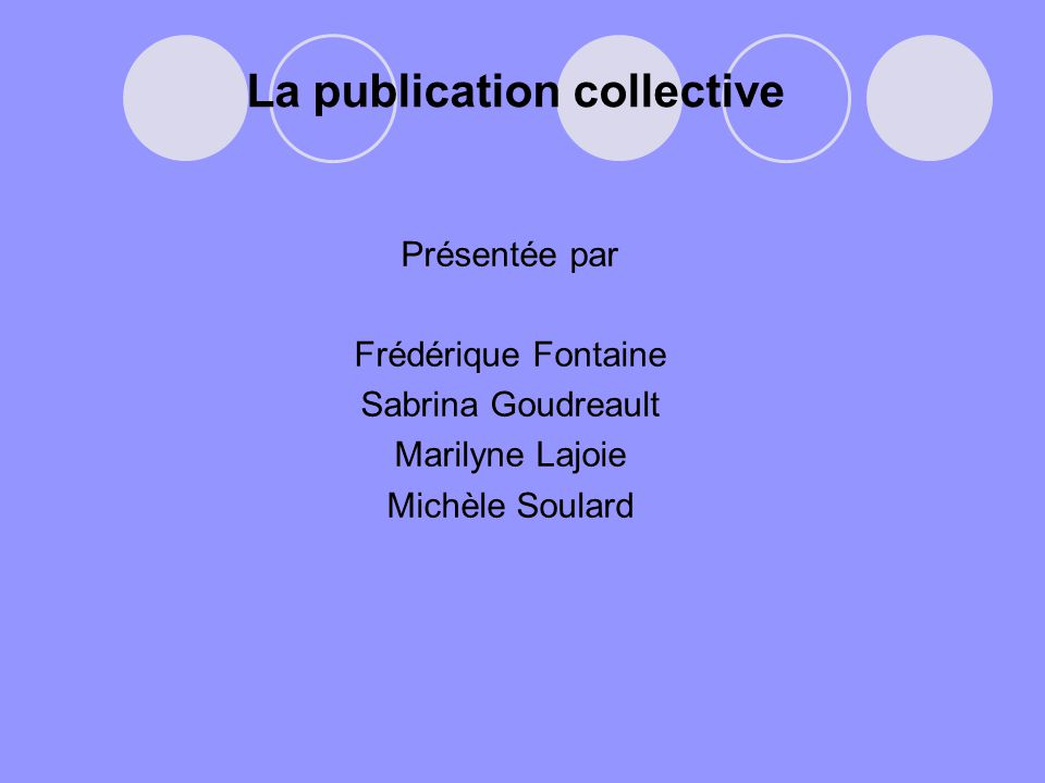 La publication collective