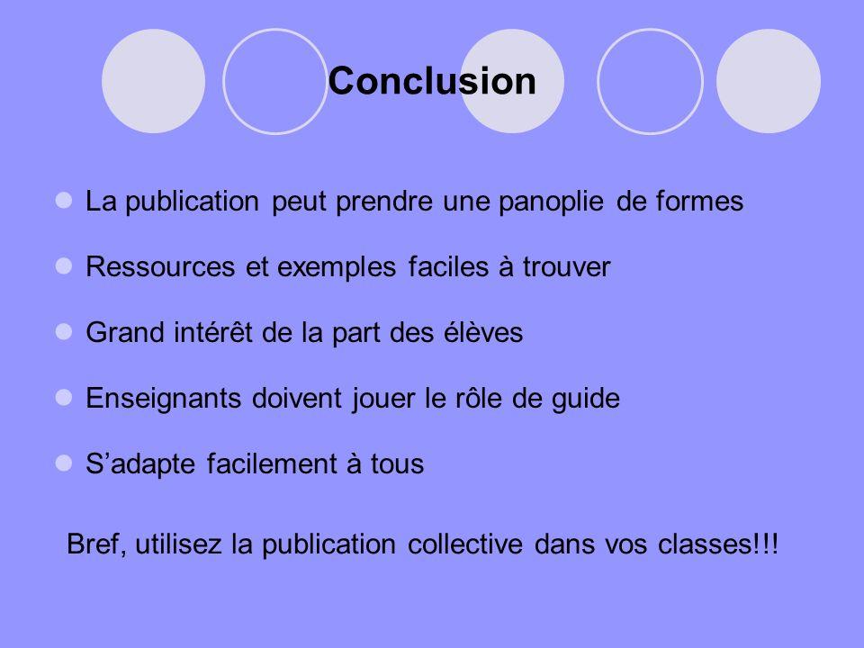Conclusion La publication peut prendre une panoplie de formes