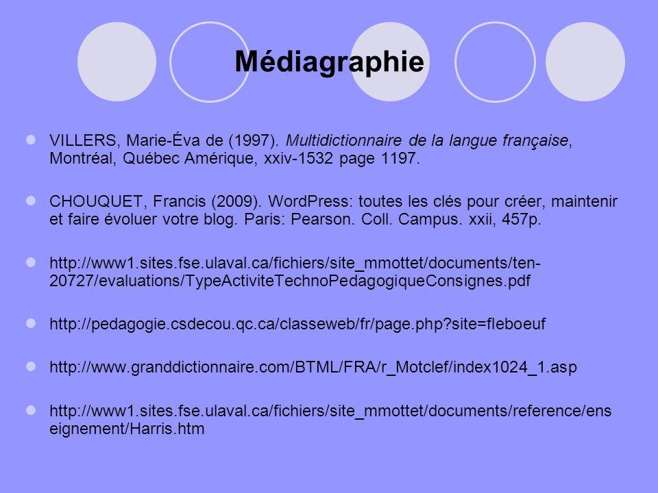 Médiagraphie VILLERS, Marie-Éva de (1997). Multidictionnaire de la langue française, Montréal, Québec Amérique, xxiv-1532 page 1197.