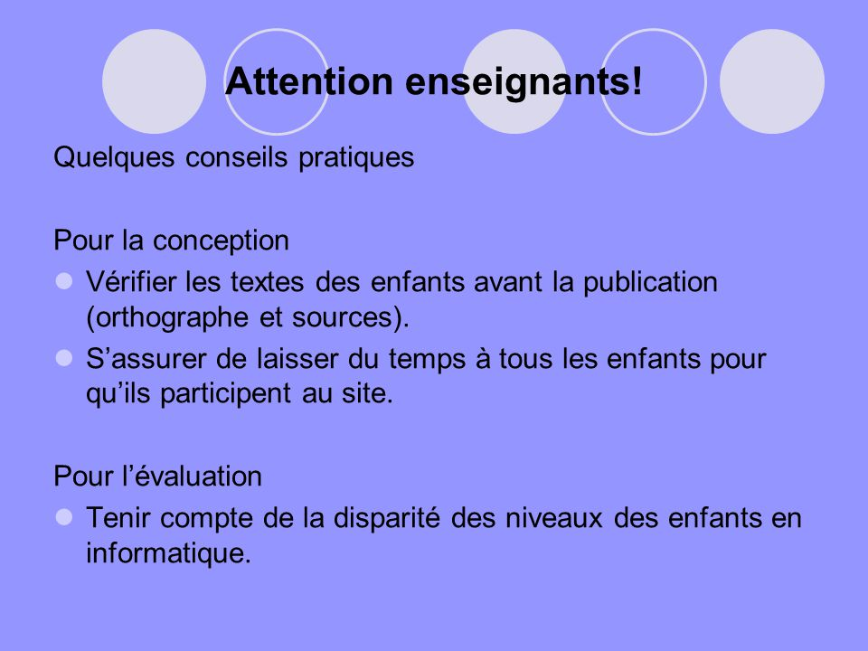 Attention enseignants!