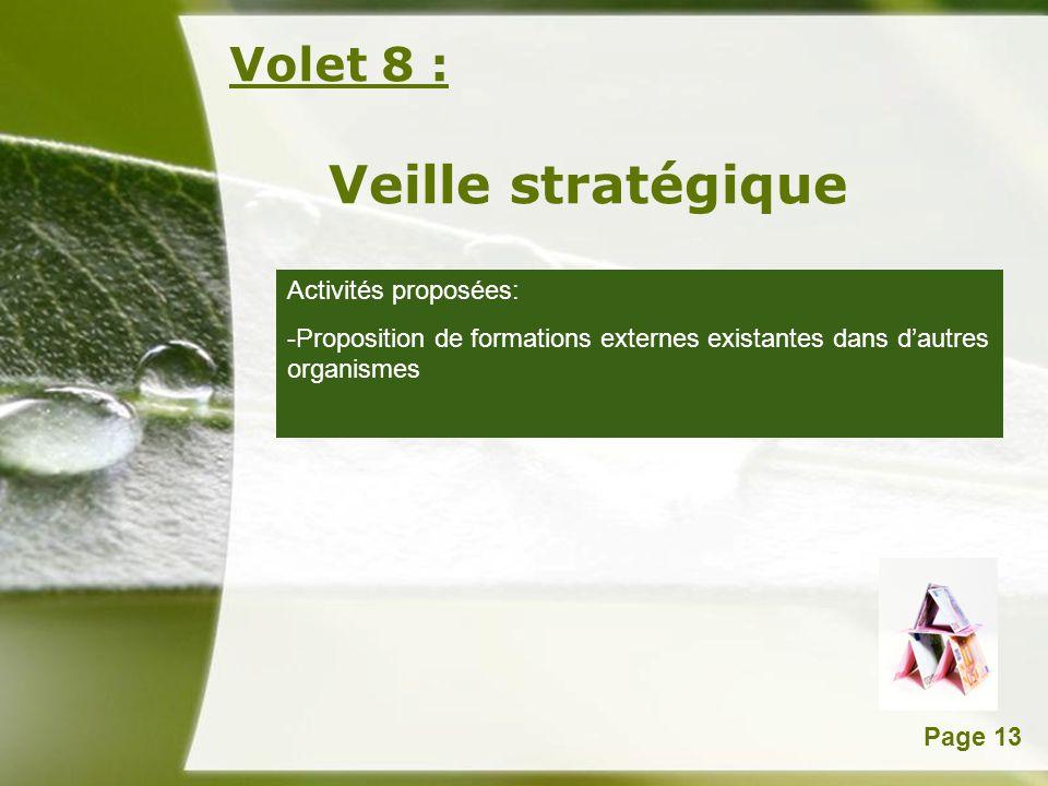 Veille stratégique Volet 8 : Activités proposées: