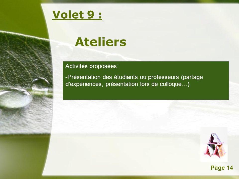 Ateliers Volet 9 : Activités proposées: